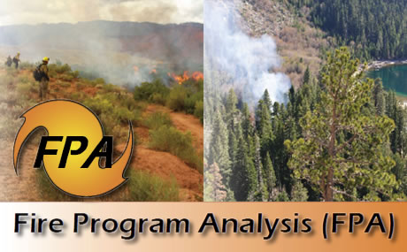 Fire Program Analysis text and logo overlaid on two pictures, firefighters monitoring a range fire and smoke rising from a forest.