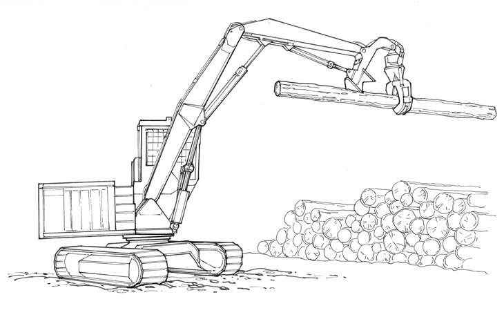 Excavator-based log loader.