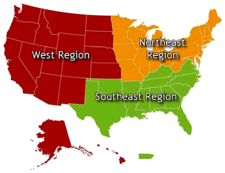 Phase 2 Regions: map of the United States showing regions with different colors.